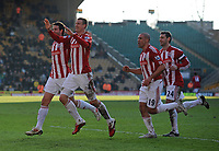 Football - FA Cup Fourth Round - Wolverhampton Wanderers vs. Stoke City<br /> Robert Huth of Stoke City celebrates his goal with his team mates at Molineux Stadium, Wolverhampton