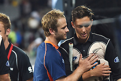 February 17, 2017 - Auckland, New Zealand - Kane Williamson and Trent Boult of New Zealand after losing the international Twenty20 cricket match between South Africa and New Zealand in Auckland, New Zealand on Feb 17. (Credit Image: © Shirley Kwok/Pacific Press via ZUMA Wire)
