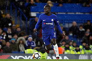 Ngolo Kante of Chelsea in action. The Emirates FA Cup, 3rd round replay match, Chelsea v Norwich City at Stamford Bridge in London on Wednesday 17th January 2018.<br /> pic by Steffan Bowen, Andrew Orchard sports photography.