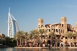 Souq Madinat and Burj al Aerab Hotel in Dubai in United Arab Emirates