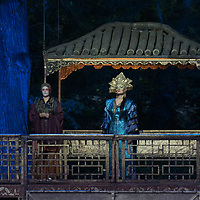 Romanian soprano Cristina Pasaroiu (C) and Argentine opera legend José Cura in the lead and title roles perform during the dress rehearsal of Giacomo Puccini: Turandot at the Margaret Island Open-Air Stage in Budapest, Hungary on June 5, 2019. ATTILA VOLGYI