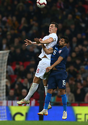 November 15, 2018 - London, United Kingdom - L-R England's Lewis Dunk and Darlington Nagbe of USA .during the friendly soccer match between England and USA at the Wembley Stadium in London, England, on 15 November 2018. (Credit Image: © Action Foto Sport/NurPhoto via ZUMA Press)