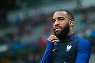 France's forward Alexandre Lacazette reacts before the FIFA World Cup Russia 2018, Qualifying Group A football match between France and Netherlands on August 31, 2017 at the Stade de France in Saint-Denis, north of Paris, France - Photo Benjamin Cremel / ProSportsImages / DPPI