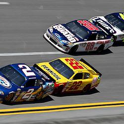 April 17, 2011; Talladega, AL, USA; NASCAR Sprint Cup Series driver Brad Keselowski (2) leads Kurt Busch (22), Dale Earnhardt Jr. (88) and Jimmie Johnson (48) during the Aarons 499 at Talladega Superspeedway.   Mandatory Credit: Derick E. Hingle