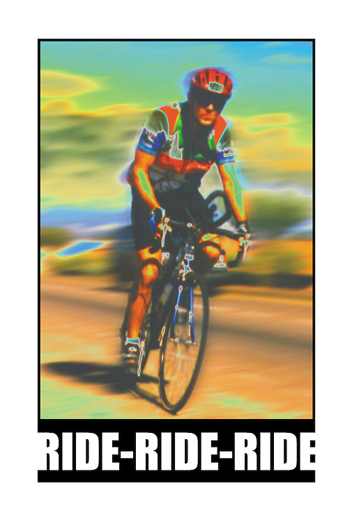 """Bicycling Postcard - Ride-Ride-Ride. Suitable for use on a 4"""" x 6"""" printed postcard."""