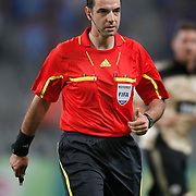 Referee's Aleksandar STAVREV during their UEFA Champions League third qualifying round, second leg, soccer match Trabzonspor between Benfica at the Ataturk Olimpiyat Stadium at İstanbul Turkey on Wednesday, 03 August 2011. Photo by TURKPIX