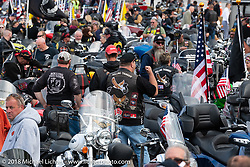 Freedom Ride to Hesky Park arrives in Meredith for the POW/MIA vigil during Laconia Motorcycle Week. NH, USA. Thursday, June 14, 2018. Photography ©2018 Michael Lichter.