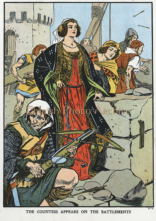 Agnes, Countess of Dunbar (1312?-1369), known as Black Agnes, defending Dunbar Castle in 1338 when her husband rebelled against the English. Early 20th century colour-printed wood engraving.
