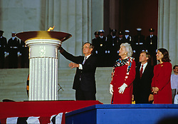United States President-elect George H.W. Bush participates in the ceremonial candle lighting to conclude the opening ceremony for his inauguration at the Lincoln Memorial in Washington, DC on January 18 1989. From left to right: President-elect Bush, Barbara Bush, Marilyn Quayle, and US Vice President-elect Dan Quayle. Photo by Robert Trippett / Pool via CNP /ABACAPRESS.COM
