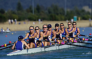 Sydney, AUSTRALIA, GBR W8+ move away from the start pontoon, at the 2000 Olympic Regatta, Penrith Lakes. [Photo Peter Spurrier/Intersport Images] . Rowing Course: Penrith Lakes, NSW 2000 Olympic Regatta Sydney International Regatta Centre (SIRC) 2000 Olympic Rowing Regatta00085138.tif