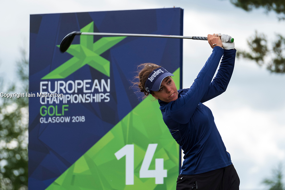 Gleneagles, Scotland, UK; 9 August, 2018.  Day two of European Championships 2018 competition at Gleneagles. Men's and Women's Team Championships Round Robin Group Stage - 2nd Round. Four Ball Match Play format. Georgia Hall tees off on the 14th tee.