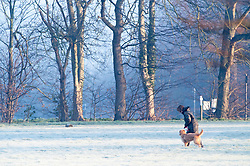 © Licensed to London News Pictures. 14/02/2019. Sidcup.A cold and frosty start to Valentines day at Footscray Meadows in Sidcup this morning.  Photo credit: Grant Falvey/LNP