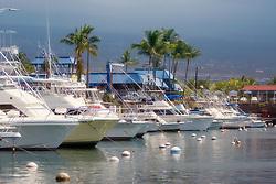 Sport Fishing Charter Boats in Honokohau Harbor, Kona, Big Island, Hawaii, USA, Pacific Ocean