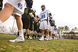 23 February 2008: Duke Blue Devils men's lacrosse midfielder Mike Catalino (29) in a 19-7 win over the Vermont Catamonts at Koskinen Stadium in Durham, NC