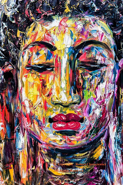 Buddha Like: A vibrantly colourful acrylic painting of a man with characteristics similar to those of the Buddha, Phnom Penh Cambodia.