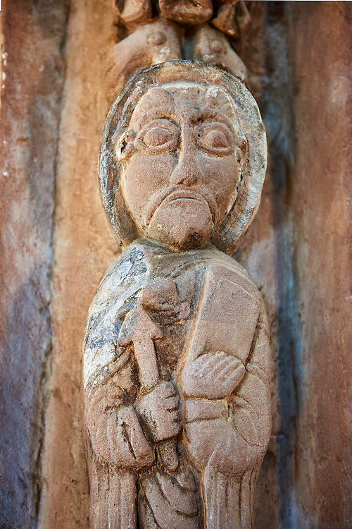 Norman Romanesque sculptures on the chancel arch from the interior of the Church of St Mary and St David, Kilpeck Herifordshire, England. Built around 1140 .<br /> <br /> Visit our MEDIEVAL PHOTO COLLECTIONS for more   photos  to download or buy as prints https://funkystock.photoshelter.com/gallery-collection/Medieval-Middle-Ages-Historic-Places-Arcaeological-Sites-Pictures-Images-of/C0000B5ZA54_WD0s