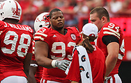 Ndamukong Suh gets water during a timeout against Arkansas State at Memorial Stadium on Sept. 12, 2009. ©Aaron Babcock