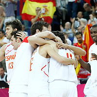 10 August 2012: Spain players celebrate during the 67-59 Team Spain victory over Team Russia, during the men's basketball semi-finals, at the North Greenwich Arena, in London, Great Britain.