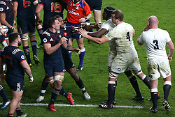 04 February 2017 Twickenham : Six Nations Rugby England v France :<br /> England lock forwards Courtney Lawes and Joe Launchbury (4) confront Louis Picamoles.<br /> Photo: Mark Leech