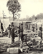 Sherman s men are seen at daily drill in Atlanta from the book ' The Civil war through the camera ' hundreds of vivid photographs actually taken in Civil war times, sixteen reproductions in color of famous war paintings. The new text history by Henry W. Elson. A. complete illustrated history of the Civil war