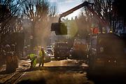 Men mending the road with fresh tarmac, 17th January 2017, London, United Kingdom.