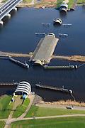 Nederland, Flevoland-Overijssel, Ramspol, 01-05-2013; de balgstuw in het Ramsdiep met strekdam naast de nieuwe Ramspolbrug in de N50 .<br /> Ramspol, inflatable dike, between Ketelmeer and Black Water. The Balgstuw (bellow barrier) is a storm barrier and consists of an inflatable dam or dyke, composed of three bellows. Usually, each bellow rests on the bottom of the water, but now the bellows are inflated  because of maintenance.<br /> luchtfoto (toeslag op standard tarieven)<br /> aerial photo (additional fee required)<br /> copyright foto/photo Siebe Swart