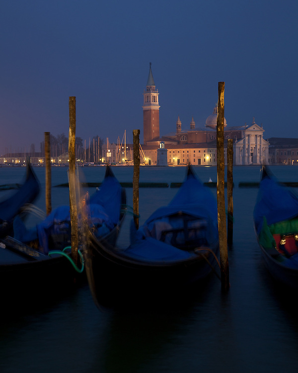 San Giorgio Maggiore and gondolas in the pre-dawn light.