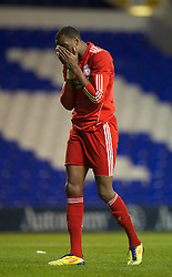 LONDON, ENGLAND - Wednesday, February 1, 2012: Liverpool's Michael Ngoo looks dejected after missing a chance against Tottenham Hotspur during the NextGen Series Quarter-Final match at White Hart Lane. (Pic by David Rawcliffe/Propaganda)