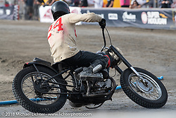 Brat Styles Go Takamine in the Born Free Tank Shift class racing at the RSD Moto Beach Classic. Huntington Beach, CA, USA. Sunday October 28, 2018. Photography ©2018 Michael Lichter.