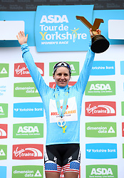 First placed in the overall classification Boels-Dolmans' Megan Guarnier on the podium during day two of the ASDA Women's Tour de Yorkshire from Barnsley to Ilkley.