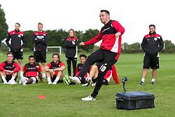 Lee Tomlin in action as Bristol City play Football Darts from Bristol Bubble Ball Ltd after training - Rogan Thomson/JMP - 30/09/2016 - FOOTBALL - Failand Training Ground - Bristol, England.