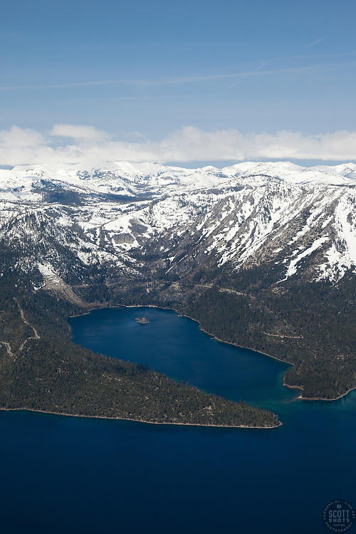 """Emerald Bay, Lake Tahoe Aerial 2"" - Aerial photograph of the blue waters of Emerald Bay in Lake Tahoe, CA and Cascade Lake."