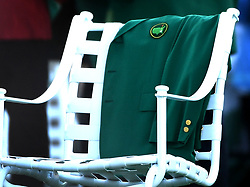 One of Arnold Palmer's green jackets is displayed at the first tee box during the ceremonial opening tee shot ceremony at The Masters tournament on Thursday, April 6, 2017 in Atlanta, Ga. (Photo by Jeff Siner/Charlotte Observer/TNS)  *** Please Use Credit from Credit Field ***