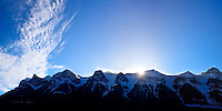 The Mountain Peaks near Canmore, Alberta, on a beautiful winter day.  The sun had just dropped to the level of the horizon and gave the rim of the ridge a very cool backlit effect...©2009, Sean Phillips.http://www.Sean-Phillips.com