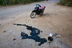 Motorcycle Oil On Ground After Changing Oil