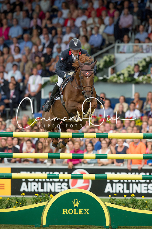 iDelestre Simon, (FRA), Ryan Des Hayettes<br /> Individual Final Competition round <br /> FEI European Championships - Aachen 2015<br /> © Hippo Foto - Jon Stroud<br /> 23/08/15