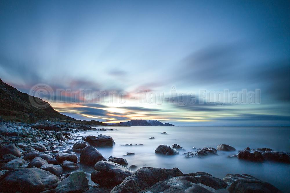 The blue hour, landscape from Hidsneset, Norway   Den blå time, landskapsbilde fra Hidsneset, Norge.