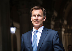 © Licensed to London News Pictures. 20/07/2019. London, UK. Foreign Secretary Jeremy Hunt seen on Downing Street after a meeting. The Iranian Ambassador to the United Kingdom has been summoned over the seizure of  the Stena Impero tanker. Photo credit: Rob Pinney/LNP