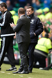 Celtic manager Brendan Rodgers shakes hands with Rangers' manager Graeme Murty after final whistle during the Ladbrokes Scottish Premiership match at Celtic Park, Glasgow.