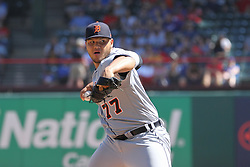 May 9, 2018 - Arlington, TX, U.S. - ARLINGTON, TX - MAY 09: Detroit Tigers pitcher Joe Jimenez (77) throws to the plate during the game between the Detroit Tigers and the Texas Rangers on May 9, 2018 at Globe Life Park in Arlington, TX. (Photo by George Walker/Icon Sportswire) (Credit Image: © George Walker/Icon SMI via ZUMA Press)
