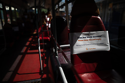 © Licensed to London News Pictures .  07/05/2020 . Salford, UK. Seats marked to be left empty to aid social distancing , on a bus outside Salford Shopping City . Photo credit : Joel Goodman/LNP