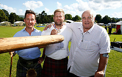 Inveraray Highland Games. Competitions include Piping, Highland Dancing, Heavy and Light events as well as the World Caber Tossing Championship.  Scott Rider is the 2016 World Caber Tossing Champion. Seen with Scott is His Grace The Duke of Argyll (Left) and Donald Clark sponsor of the event(c) Stephen Lawson   Edinburgh Elite media