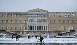 Syntagma, during a rare heavy snowfall in the city on February 16, 2021.
