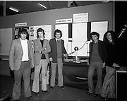 03/01/1975.01/03/1975.3rd January 1975.The Aer Lingus Young Scientist Exhibition at the RDS, Dublin...Picture shows a group of students from St. Josephs CBS Nenagh, Co. Tipperary who carried out a group project on the production and investigation of low energy protons. L-R Sean Treacy, Brian Geraghty, Connie Whelan, John Finn and Tom O'Donoghue. .