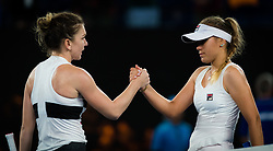 January 17, 2019 - Melbourne, AUSTRALIA - Simona Halep of Romania & Sofia Kenin of the United States at the net after their second-round match at the 2019 Australian Open Grand Slam tennis tournament (Credit Image: © AFP7 via ZUMA Wire)