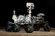 This photograph shows the Vehicle System Test Bed (VSTB) rover, a nearly identical copy to the Curiosity rover on Mars.