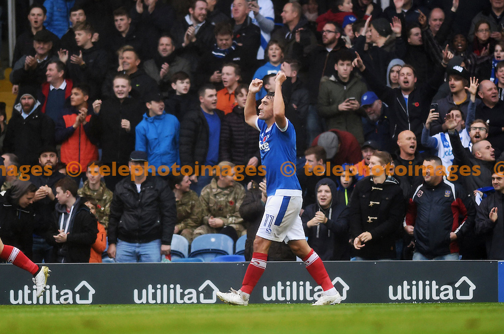 Gary Roberts of Portsmouth celebrates after scoring in the first half during the Sky Bet League 2 match between Portsmouth and Mansfield Town at Fratton Park in Portsmouth. November 12, 2016.<br /> Simon  Dack / Telephoto Images<br /> +44 7967 642437