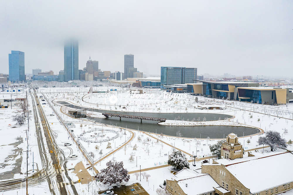 Snow covers Scissortail Park and the surrounding area in downtown Oklahoma City on Friday, Jan. 1, 2021. Photo copyright © 2021 Alonzo J. Adams.