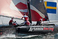 Practice day, 19th of February. Extreme Sailing Series, Act 1, Muscat, Oman (22 - 24 Februari 2011)  Sander van der Borch / Artemis Racing