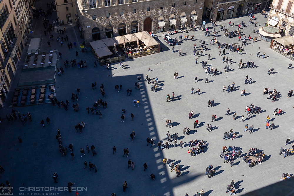 Piazza della Signoria in Florence, Tuscany, Italy.<br /> Picture date: Sunday February 24, 2019.<br /> Photograph by Christopher Ison ©<br /> 07544044177<br /> chris@christopherison.com<br /> www.christopherison.com